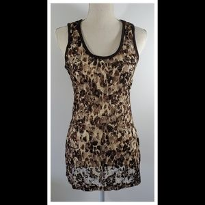 Almost Famous Brown Lace Tank